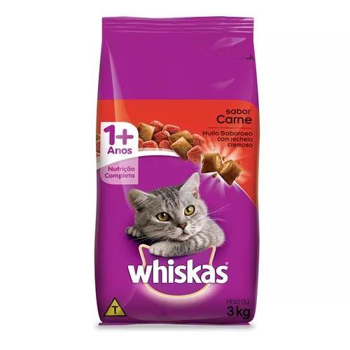 Ração whiskas carne para gatos adultos - 3 kg
