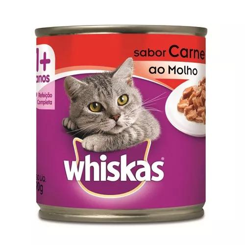 Ração úmida whiskas para gatos adultos carne ao molho