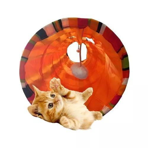 Tunel para gato dobravel brinquedo interativo cat 1,25m