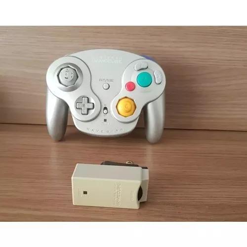 Controle game cube wavebird wireless prata original nintendo