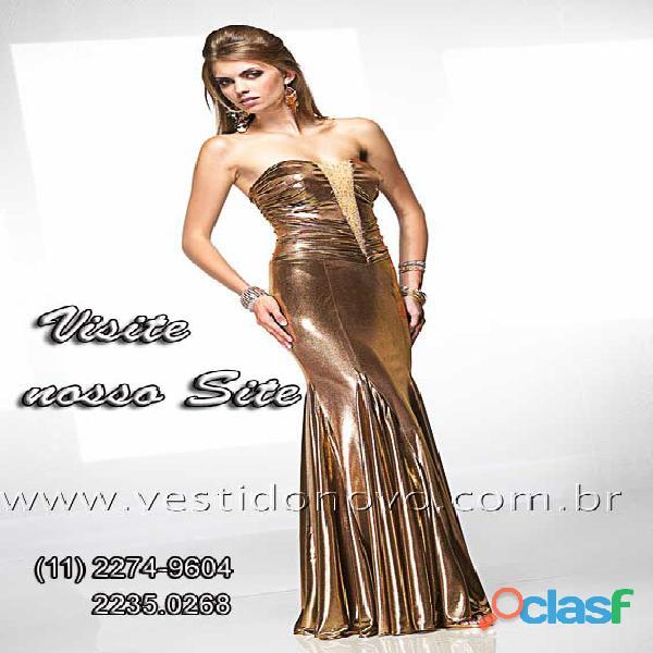 Vestido dourado todo em brilho da loja vestido novos zona sul