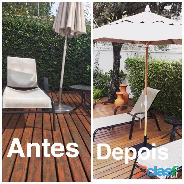 Reformas de móveis de área externa alumínio com fibra sintética tela sling e ombrelones