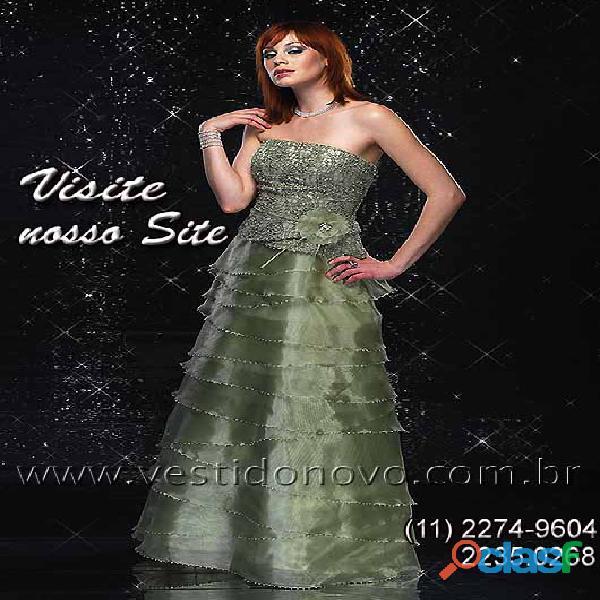 Vestido em camadas, mãe do noivo, verde claro da loja vestido novo zona sul