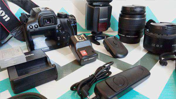 Canon 1000 d + kit fotografia estúdio profissional completo