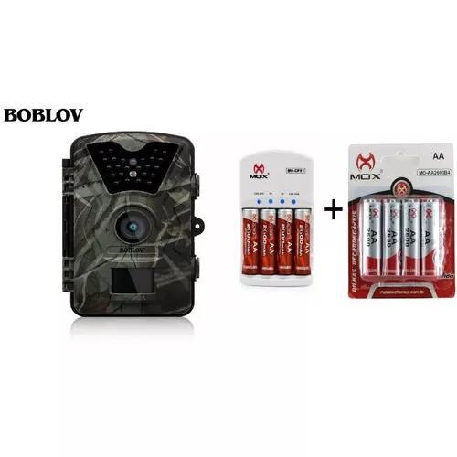 Câmera de trilha + carregador + 8 pilhas mox recarregáveis