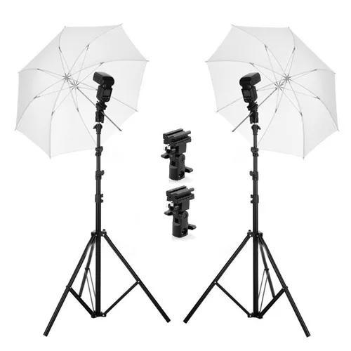Kit 2 x sombrinha difusora 83cm + suporte flash b + tripé