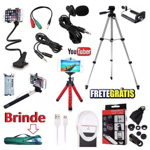 Kit youtuber microfone lapela led tripé 1,30m câmera