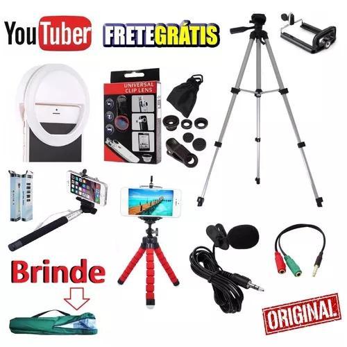 Kit youtuber tripé 1,30m luz selfie microfone lapela