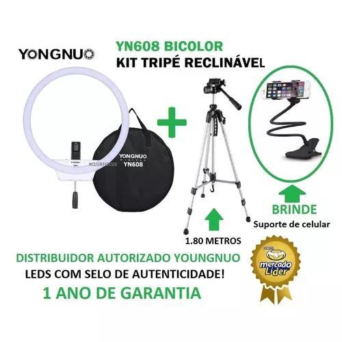 Led Ring Light Yongnuo Yn 608 + Tripé Articulado + Fonte
