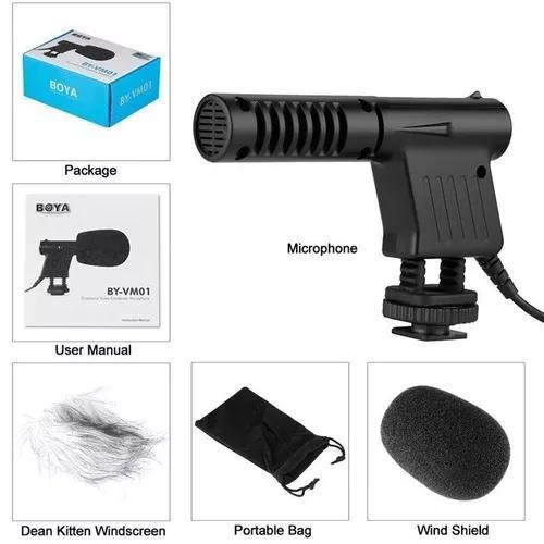 Microfone direcional boya by-vm01 youtuber profission (nfe)