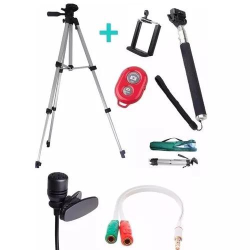 Tripé celular universal 1,30 + kit selfie + microfone