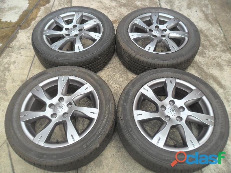 Fluence renault duster roda original aluminio grafite cinza aro 17 pneu semi novo jogo continental