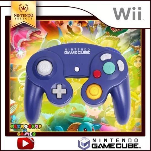 Controle original nintendo game cube e wii - azul