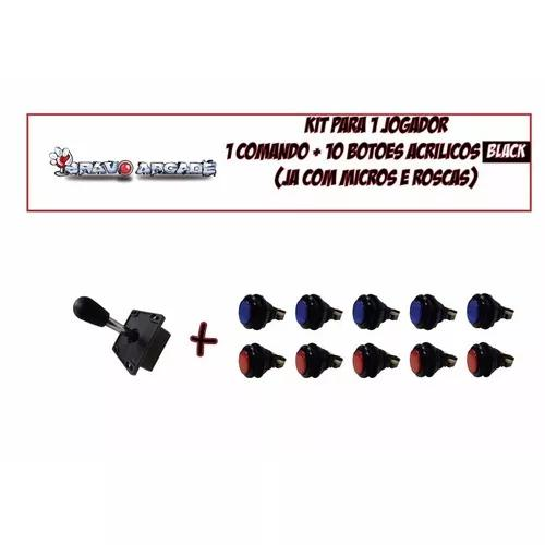 Kit fliperama botões de acrílico black 1 player raspberry