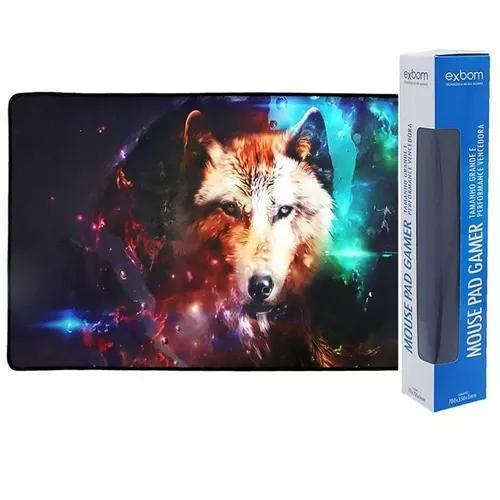 Mouse pad gamer lobo extra grande 70x35cm bordas costuradas.