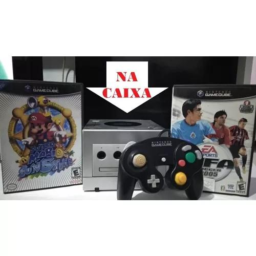 Nintendo gamecube c/caixa + mario sunshine e fifa 05