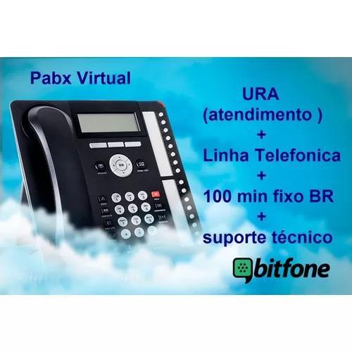Pabx virtual + ura + linha receptiva + 100 minutos fixo br