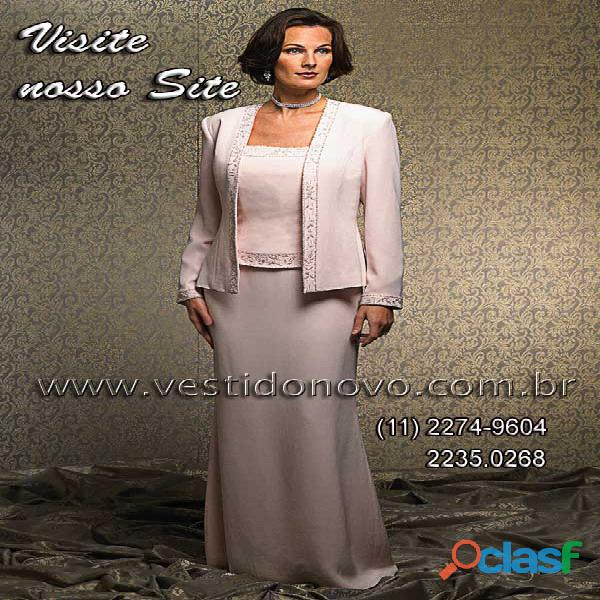 Vestido plus size mãe de noivo, com casaco manga longa da loja vestido novo zona sul