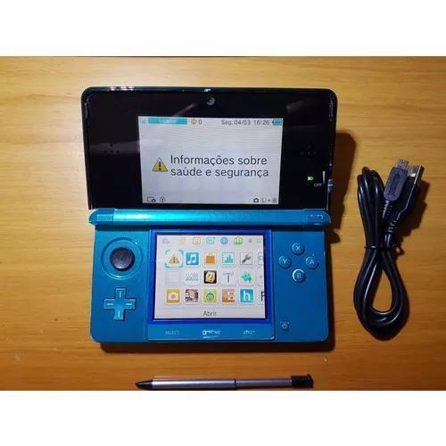3ds azul desbloqueado + cartão 32gb d02