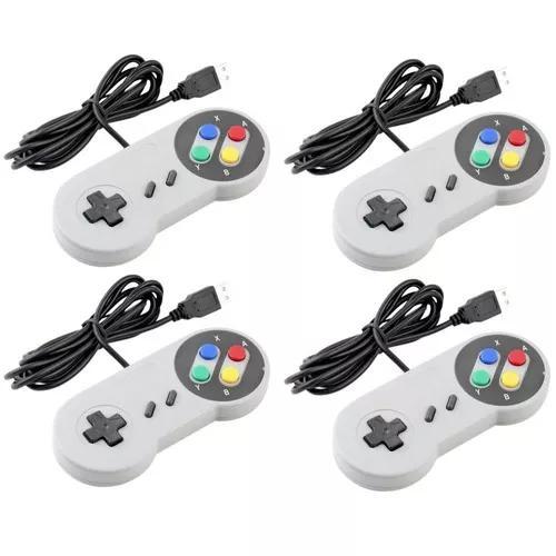 Controle nintendo usb joystick super snes jogos pc -kit 10un