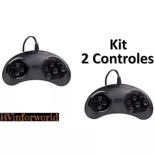 Kit 2 controle mega driver sega usb pc raspberry retro game