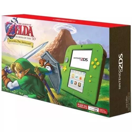 Nintendo 2ds zelda edition roda 3ds wifi ar cards + jogo