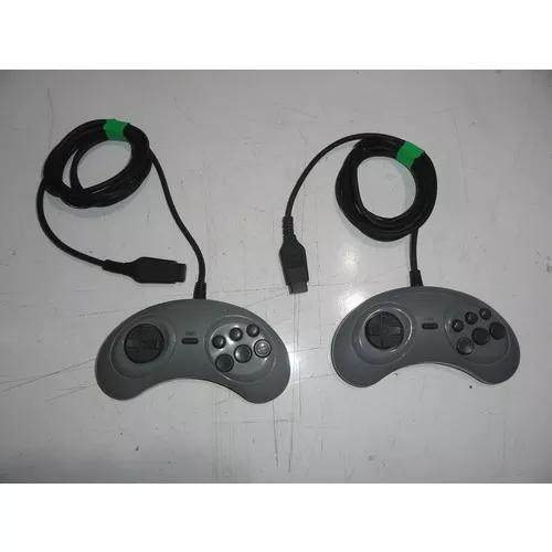 Par de controle mega drive original sega cinza 6 botões c01