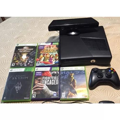 Xbox 360 + kinect + controle + receiver usb pc + 5 jogos