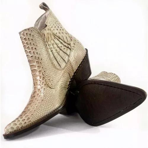 Bota botina country texana masculina bico fino cobra anacond