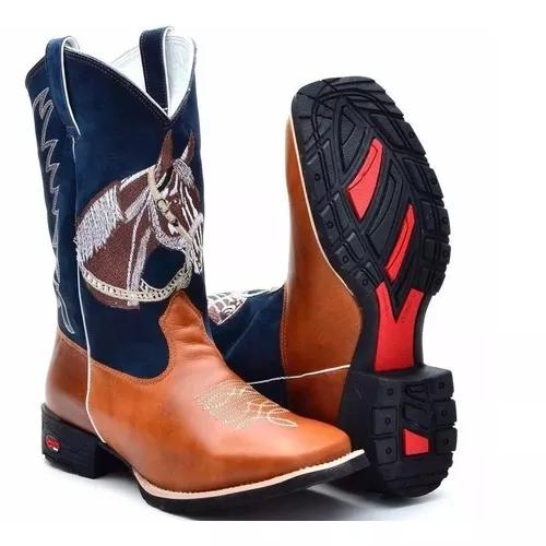 Bota country masculina cano long texana rodeio bico quadrado