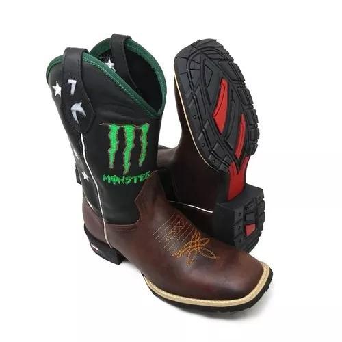 Bota monster country texana toda de couro masculina