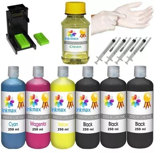 1600ml -kit tinta recarga cartuchos impressora hp + snap