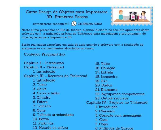 Curso modelagem design objetos para impressora 3d -iniciante