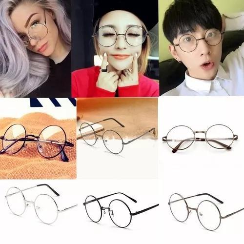 Armação de metal redondo lentes claras óculos geek retrô