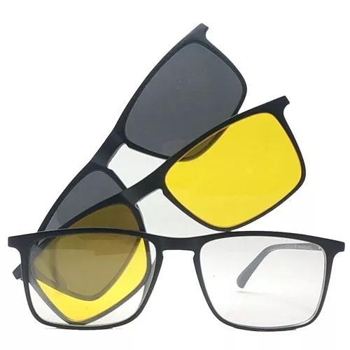 Armação de óculos clip on polarizado e night driver