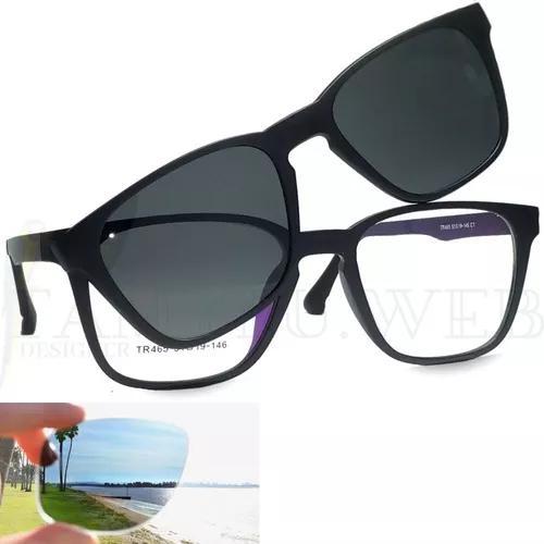 Armação de óculos clip on solar polarizado