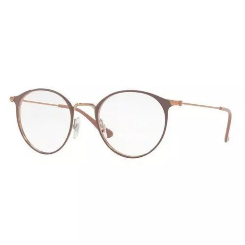 Armação oculos grau ray ban rb6378 2973 49mm marrom claro