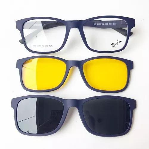 Armação óculos clip on 2075 três lentes acompanha caixa