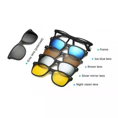 Armação óculos clip on 6 lentes grau amarela preto