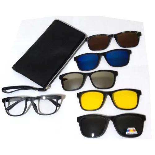 Armação óculos grau clip on sol polarizado espelhado