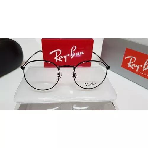 Armação óculos ray-ban grau round rb3447 preto brilhante