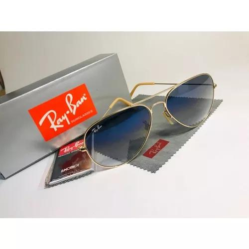 Oculos de sol ray ban aviador azul degrade rb3025