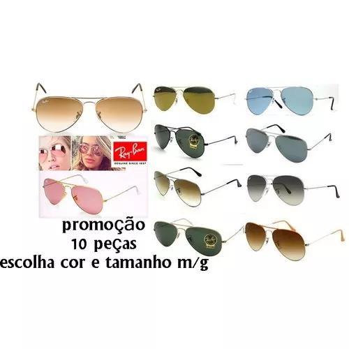 Oculos de sol ray ban aviador lente cristal atacado revenda