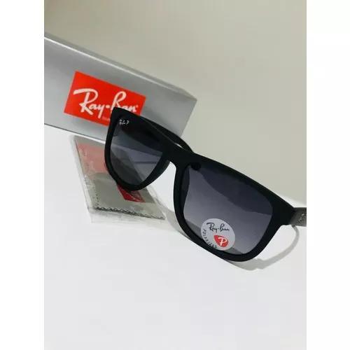 Oculos de sol ray ban justin rb4165 preto lente polarizada