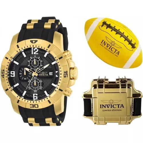 Relógio invicta 24965 original banhado ouro bola maleta