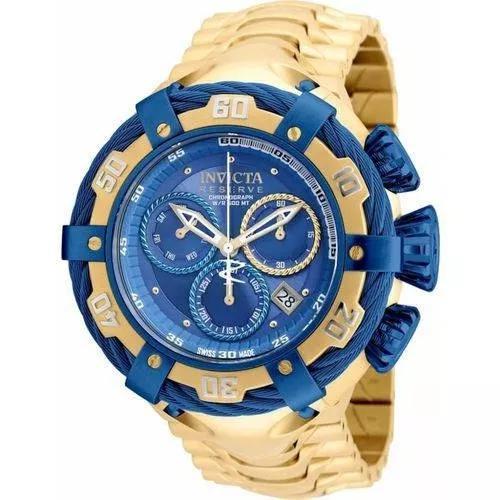 Relógio invicta bolt modelo 21361 dourado / azul