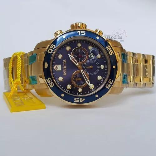 Relógio invicta promoção 0073 dourado b. ouro 18k