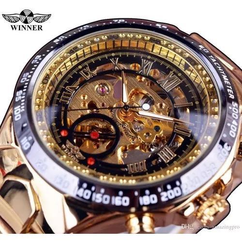 Relógio masculino dourado luxo inox automatico esqueleto
