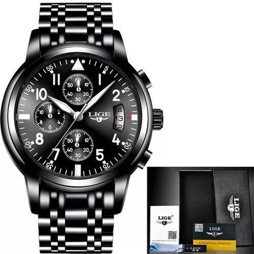 Relógio masculino lige original luxo c/ caixa