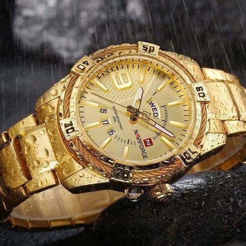 Relógio masculino luxo naviforce original r'agua aço n9117